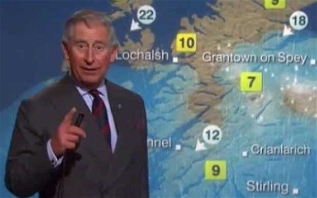 Prince Charles presented the weather forecast during a tour of BBC Scotland's Pacific Quay headquarters