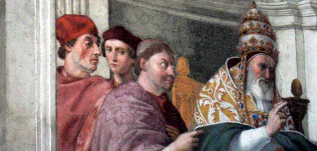 Raphael's 1511 painting depicts Pope Gregory IX, but in the background, you can see Sylvester Stallone look alike peaking over the Pope's shoulder