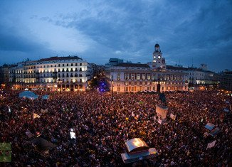 "Tens of thousands of people have protested in capital Madrid and in a number of Spanish cities to mark the first anniversary of the ""Indignants"" movement"