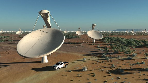 The 1.5 billion-Euro SKA's huge fields of antennas will sweep the sky for answers to the major outstanding questions in astronomy