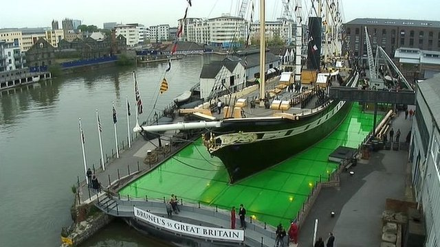 "The ss Great Britain's glass ""sea"" has been covered with 55,000 litres of jelly which will be lit from below after sunset"