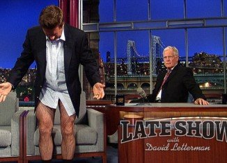 Alec Baldwin broke the tension by declaring that he'd lost weight and dropped his pants as proof, David Letterman then downed his trousers too