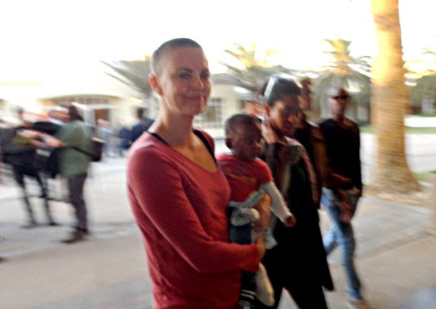 Charlize Theron was spotted in Namibia this week with her son Jackson, revealing her dramatic buzz cut for the first time