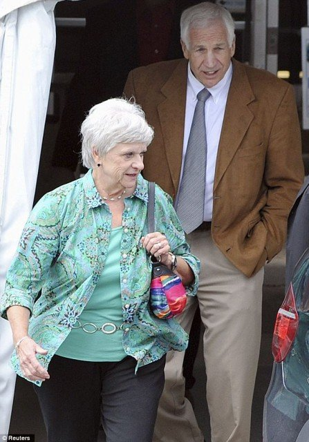 Jerry Sandusky was accompanied by his wife Dottie as they took a break from the courthouse during deliberations on Friday  447x640 photo