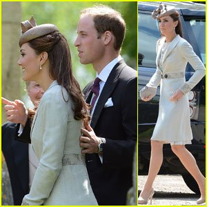 Kate Middleton was once again sporting the $296 LK Bennett nude shoes on Saturday, when she attended the wedding of Prince William's cousin, Emily McCorquodale, Princess Diana's niece