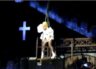 Lady Gaga was left stunned by an unexpected mishap while in the middle of her hit song Judas at Sunday's show in New Zealand