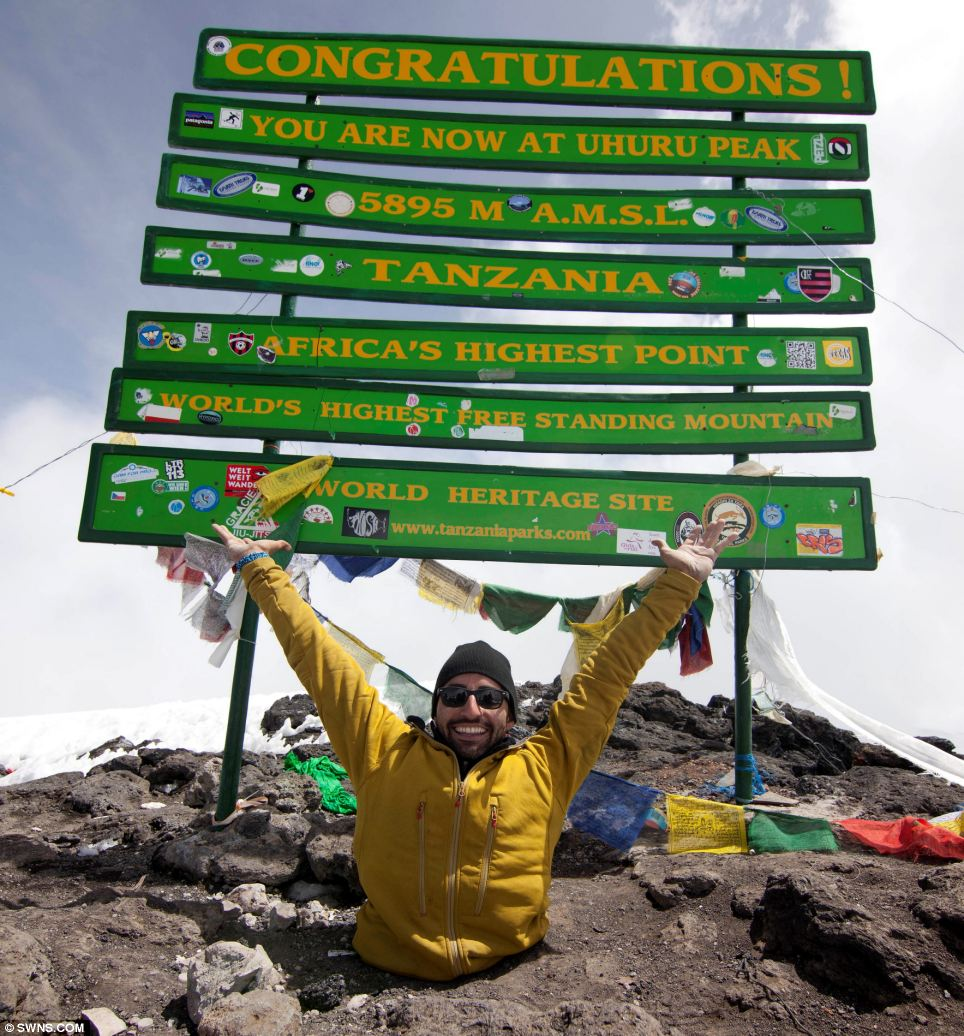 Spencer West reached the summit of the 19,341ft high Mt. Kilimanjaro on Monday after a slow, gruelling and awe-inspiring trek