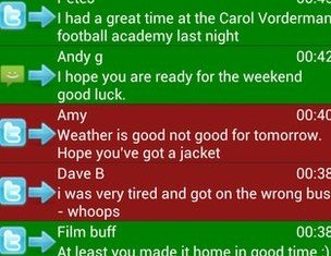 The app automatically color codes incoming messages, making them green for positive, red for negative and blue for neutral