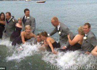 The entire bridal party got a soaking when a dock at the Bay Pointe Inn on Gun Lake in Shelbyville, Michigan, collapsed