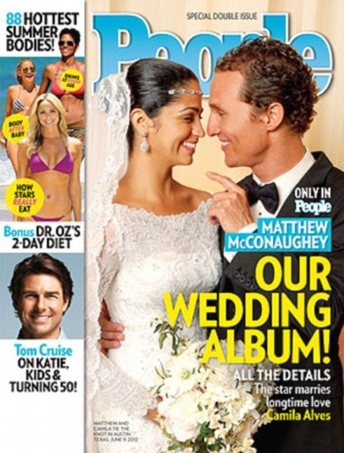 The first picture from Matthew and Camila McConaughey's intimate wedding has been revealed on the cover of People magazine 487x640 photo