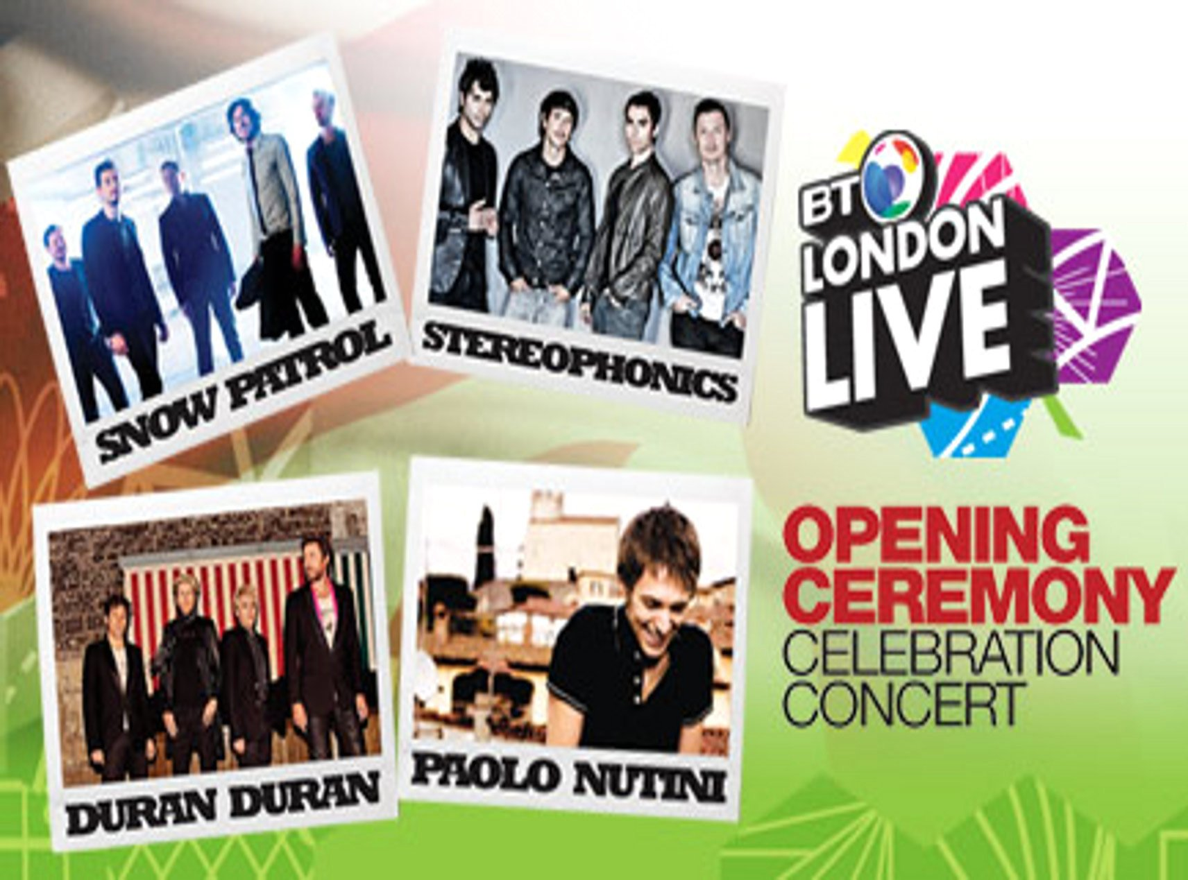 Duran Duran, Snow Patrol, Stereophonics and Paolo Nutini are celebrating the start of London Olympic Games at a special concert in Hyde Park this evening