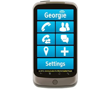 Georgie has a voice-assisted touchscreen and offers a variety of apps to help complete tasks such as catching a bus, reading printed text and pinpointing location