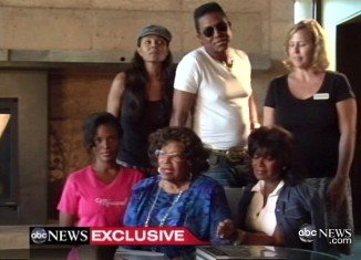 Jermaine, Janet and Rebbie stood close around an anxious Katherine Jackson as she read out a prepared statement at the luxury resort where she has been staying