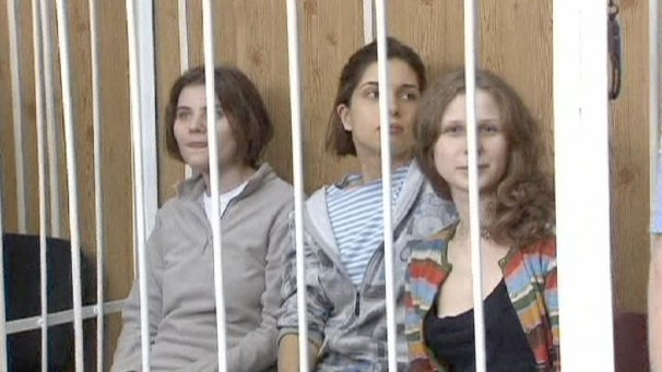 "Nadezhda Tolokonnikova, Maria Alyokhina and Yekaterina Samutsevich caused outrage when they sang a song that implored the Virgin Mary to ""throw Putin out"" in February"