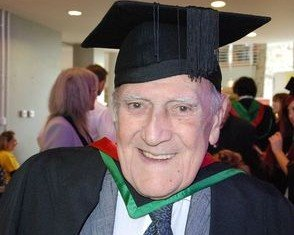 Roger Roberts, 82, from Aberystwyth, graduated in economic and social studies in international politics on Tuesday