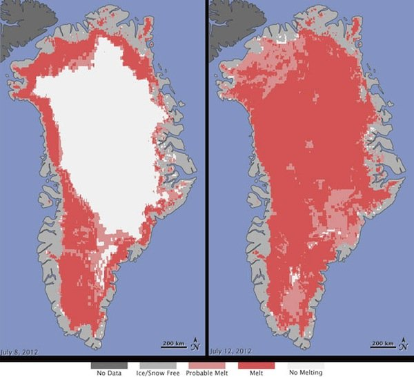 "Scientists said the ""unprecedented"" melting took place over a larger area that ever detected in three decades of satellite observation"