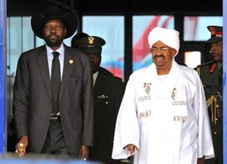Sudan's President Omar al-Bashir and South Sudan's President Salva Kiir meet for the first time since border dispute