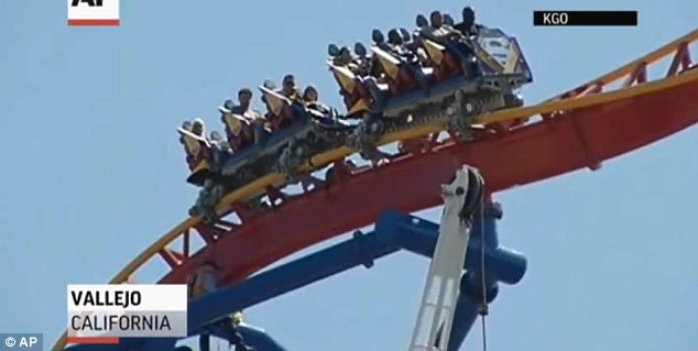 The two dozen men and women found themselves stranded 150 feet above ground for nearly two hours when both the cars of The Superman Ultimate Flight ride stalled atop the track