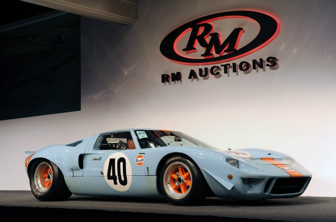 1968 Ford GT40 made a record as the most expensive American car sold at auction, at Pebble Beach Concours d'Elegance 2012.