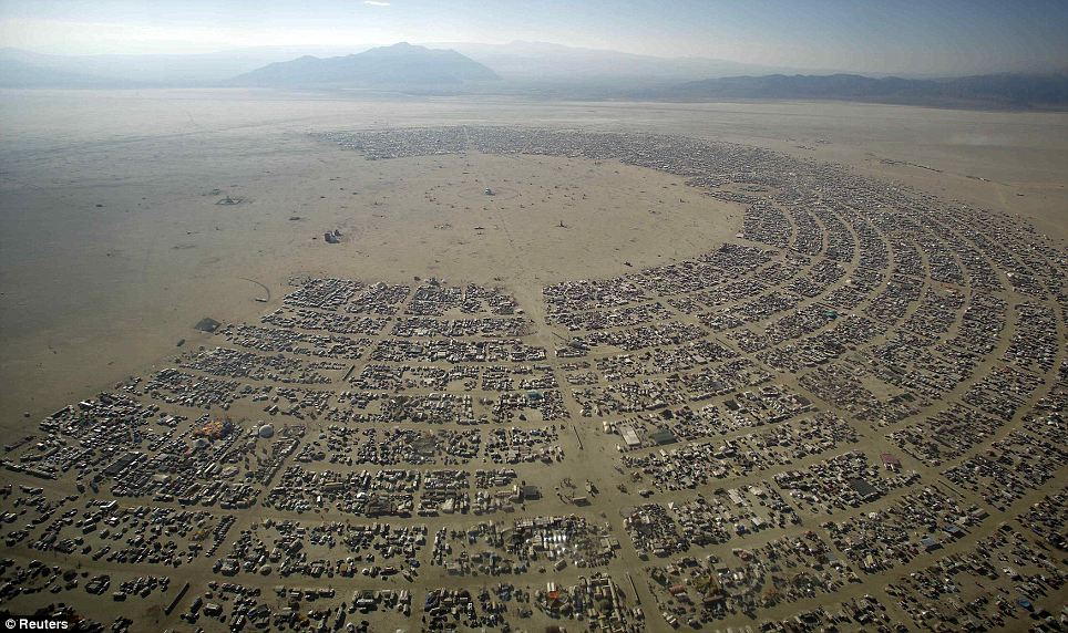 "Aerial view of Burning Man 2012 ""Fertility 2.0"" arts and music festival in the Black Rock Desert of Nevada August 30, 2012"