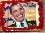 Barack Obama escaped to begin any celebrations, Republicans acknowledged his birthday by delivering him a tongue-in-cheek cake