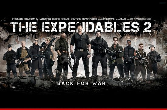 Expendables 2 movie has continued its grip on the North American box office chart, holding onto the number one spot for a second consecutive week