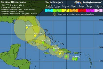 High winds and driving rain are lashing the coast of Haiti as Tropical Storm Isaac moves closer to the shore