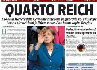 "Il Giornale, owned by former Prime Minister Silvio Berlusconi, has caused controversy by printing a front page headline which said ""Fourth Reich"" above a picture of German chancellor Angela Merkel"