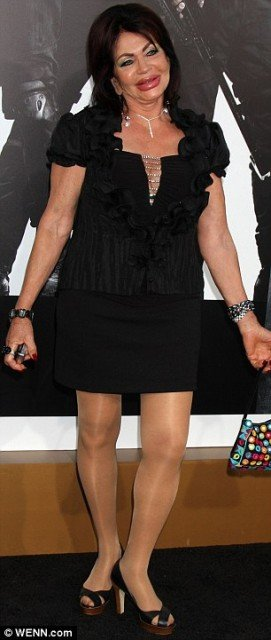 Jackie Stallone, Sylvester Stallone's 90-year-old mother, showed off her inflated lips last night at the Los Angeles premiere of The Expendables 2