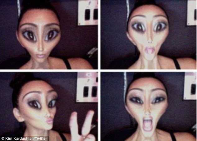 Kim Kardashian has seized the limelight again by posting pictures of what she would look like as an alien