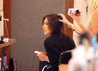 Kim Kardashian was spotted sitting in a hair salon for a reported five hours