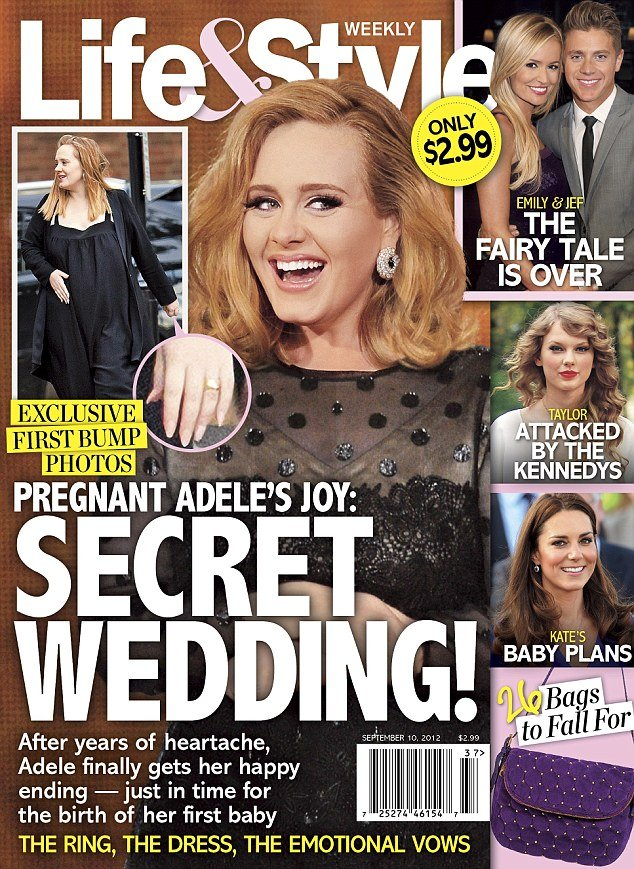 Pregnant Adele sporting a gold band on her ring finger