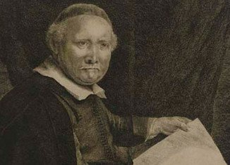 Rembrandt's etching of Lieven Willemsz van Coppenol, Writing-Master, is made around 1658