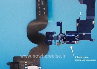The first pictures of the flex cable components for Apple's iPad Mini and iPhone 5 incorporating the new smaller dock connector have emerged