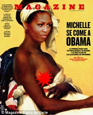 The picture places Michelle Obamas face in a 1800 portrait of a slave with an exposed breast photo
