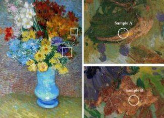 A layer of varnish added later to protect Van Gogh work Flowers In A Blue Vase is in fact turning the yellow to a greyish-orange color