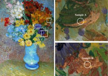 A layer of varnish added later to protect Van Gogh work Flowers In A Blue Vase is in fact turning the yellow to a greyish orange color photo