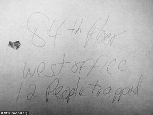 A note in Randy Scott's handwriting and with a smudge of his blood had been found at world Trade Center