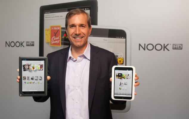 Barnes and Noble CEO William Lynch unveils the new NOOK HD plus, left, and NOOK HD in New York