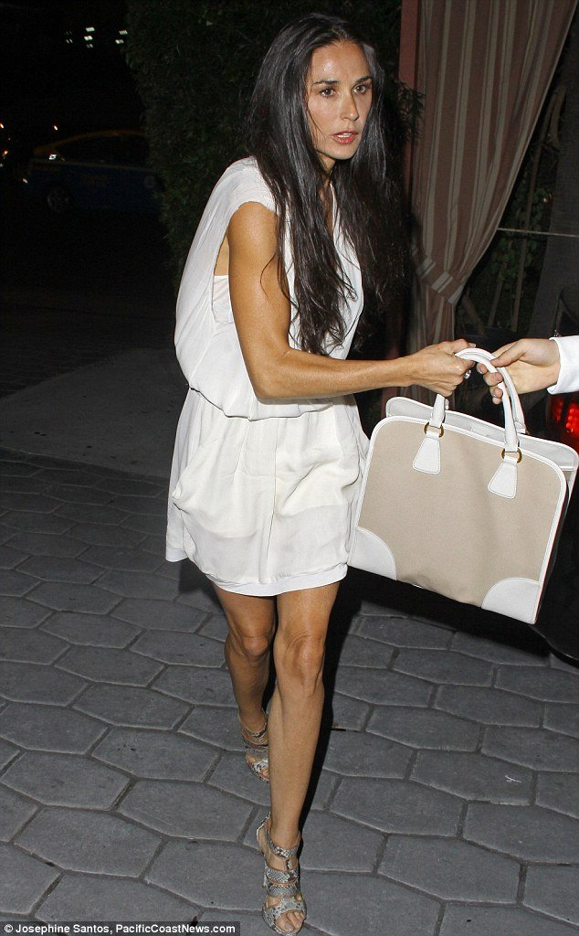 Demi Moore cut a very different figure on Wednesday night as she left the Sunset Towers Hotel in West Hollywood