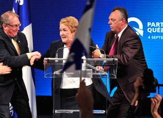 Parti Quebecois leader Pauline Marois was giving a victory speech in Montreal when shots were heard at the back of the hall