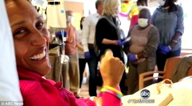 Robin Roberts underwent her bone marrow transplant yesterday, surrounded by her closest friends and family