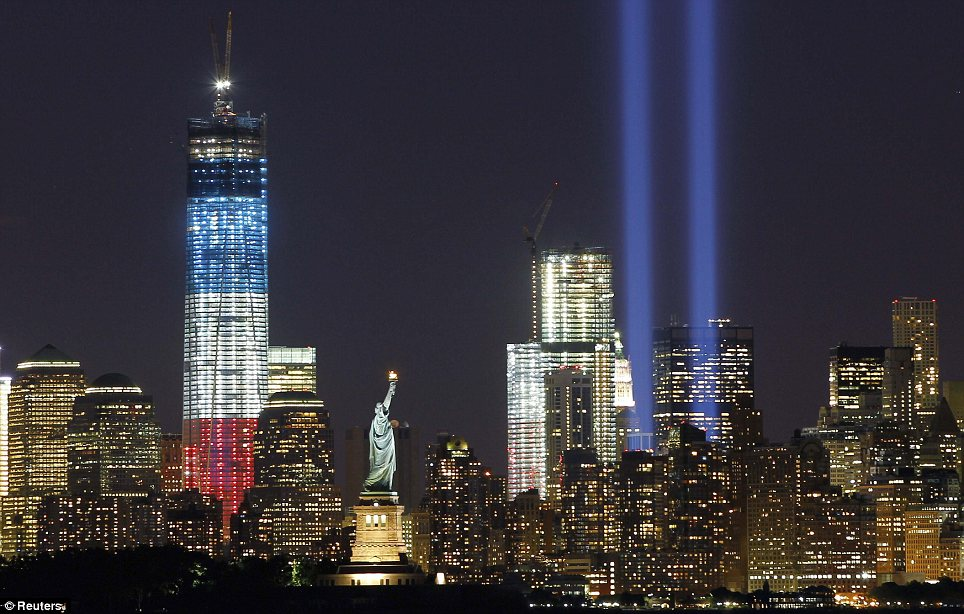 9 11 memoration Manhattan skyline lit up with twin