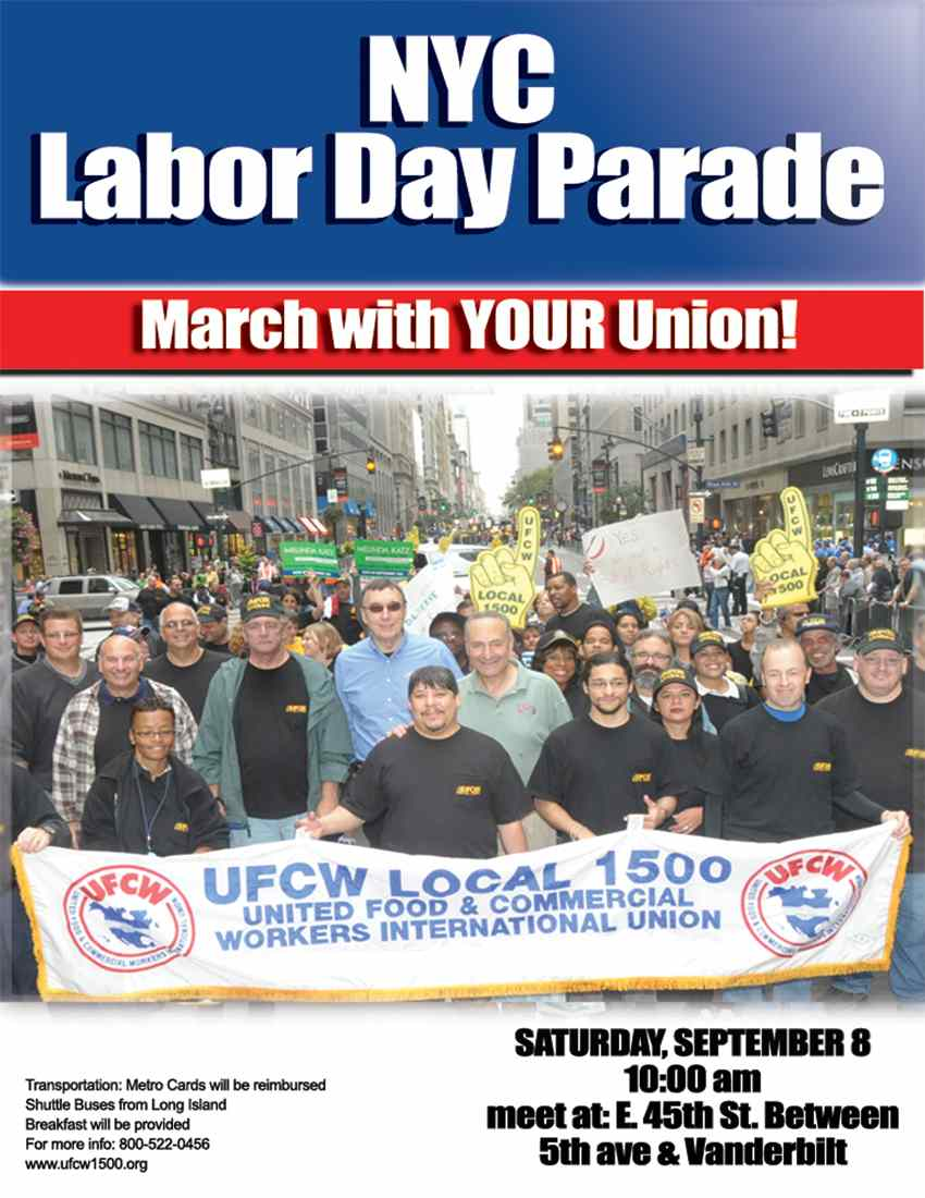 The first Labor Day Parade was held in New York City, on September 5 1882, and there's still one in NYC today, with trade union members, high school bands, politicians, police and fire departments, and more