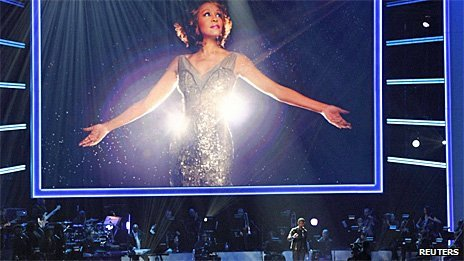A host of celebrities have paid tribute to Whitney Houston as part of a special Grammy television show in Los Angeles