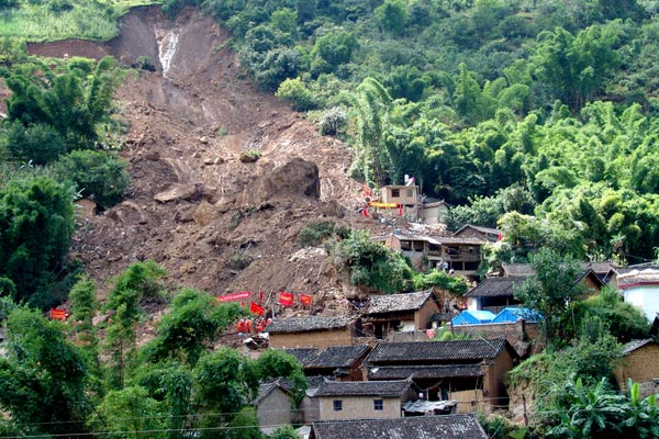 A landslide in south-western China has buried at least 19 people