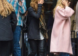 Ashley Olsen, her sister and Olivier Sarkozy at upscale eatery Sant Ambroeus in New York City's West Village