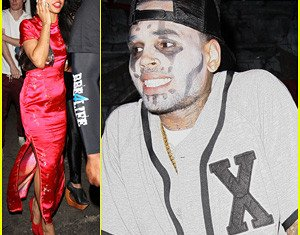 Chris Brown and Karrueche Tran at GreyStone Manor Halloween Party