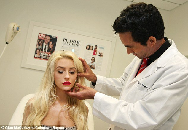 Courtney Stodden heads into the office of Beverly Hills plastic surgeon Dr. Marc Mani for an examination
