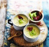 Creamy leek and potato soup with crispy pancetta